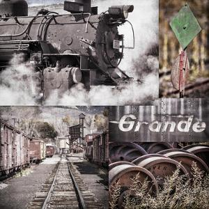 Historic Train Collage II by Kathy Mahan