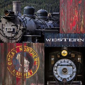 Historic Train Collage III by Kathy Mahan
