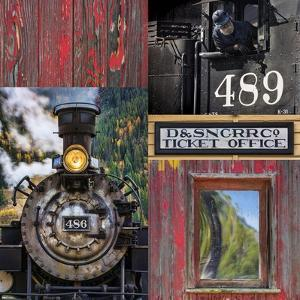 Historic Train Collage IV by Kathy Mahan