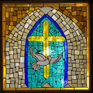 Stained Glass Cross V by Kathy Mahan