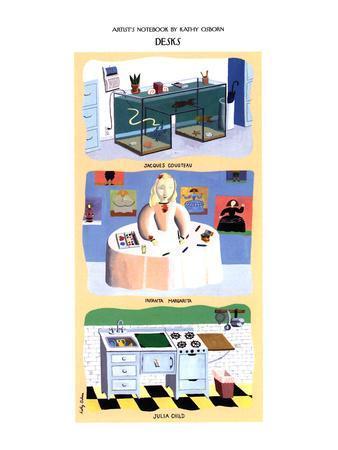 Desks'-Fish tanks - New Yorker Cartoon