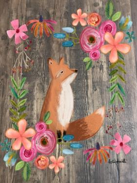 Floral Fox on Wood by Katie Doucette