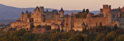 France, Languedoc-Rousillon, Carcassonne; the Fortifications of Carcassonne at Dusk by Katie Garrod