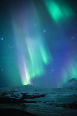 Iceland, Fjallsarlon. the Northern Lights Appearing in the Sky at Fjallsarlon by Katie Garrod