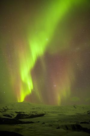 Iceland, Fjallsarlon. the Northern Lights Appearing in the Sky at Fjallsarlonll.
