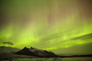 Iceland, Fjallsarlon. the Northern Lights Appearing in the Sky at Fjallsarlonll. by Katie Garrod