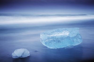Iceland, Jokulsarlon. Frozen Icebergs Washed Up on the Black Beach at Jokulsarlon.