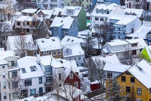 Iceland, Reykjavik. Reykjavik, Capital City of Iceland, Frozen by Winter. by Katie Garrod