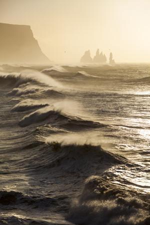 Iceland, Reynisfjara. Waves Breaking on Reynisfjara Beach