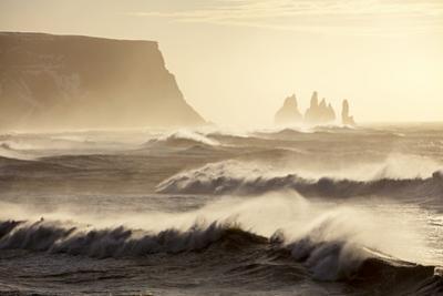Iceland, Reynisfjara. Waves Breaking on Reynisfjara Beach by Katie Garrod