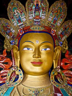 India, Ladakh, Thiksey, the Immense and Beautifully Gilded Maitreya Buddha in the Chamkhang Temple by Katie Garrod