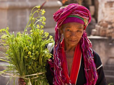 Myanmar, Burma, Kekku; Palaung Tribal Lady on Pilgrimage from Her Village
