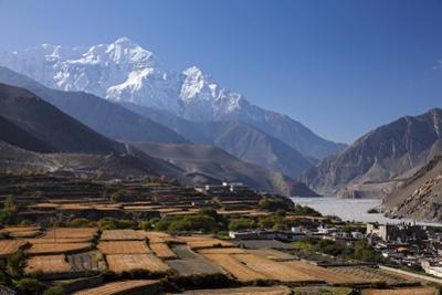 Nepal, Mustang, Kagbeni. the Soaring Peak of Nilgiri Behind the Village of Kagbeni.