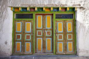 Nepal, Mustang, Lo Manthang. Brightly Painted Doors in the Ancient Capital of Lo Manthang. by Katie Garrod