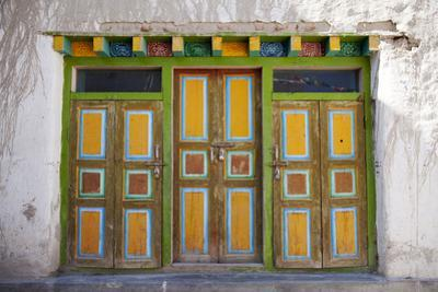Nepal, Mustang, Lo Manthang. Brightly Painted Doors in the Ancient Capital of Lo Manthang.