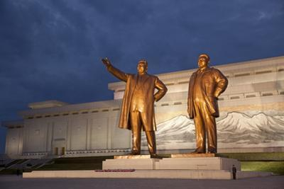 North Korea, Pyongyang. Bronze Statues of Kim Il Sung, Arm Out Pointing the Way Forward