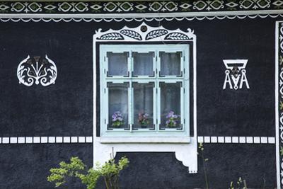 Romania, Bucovina, Sucevita. a Traditional Ukrainian Style House in the Village of Sucevita.