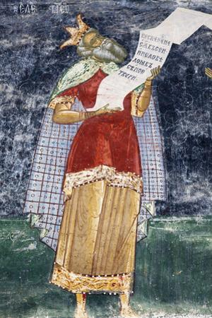 Romania, Bucovina, Sucevita. a Wall Painting in Sucevita Monastery
