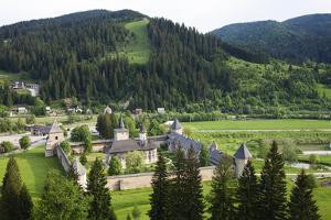 Romania, Bucovina, Sucevita. Looking Down on Sucevita Monastery by Katie Garrod