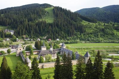 Romania, Bucovina, Sucevita. Looking Down on Sucevita Monastery