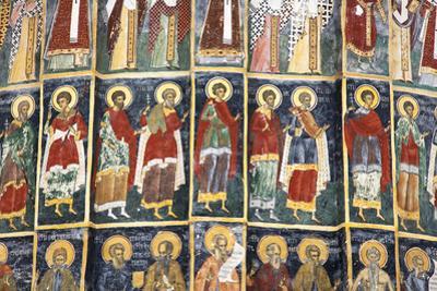 Romania, Bucovina, Sucevita. Wall Painting in Sucevita Monastery