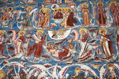 Romania, Moldavia, Moldovita. a Wall Painting at Moldovita Monastery.
