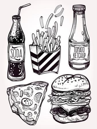 Fast Food Set Vintage Linear Style. by Katja Gerasimova