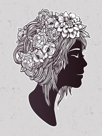 Hand Drawn Beautiful Artwork of a Girl Head with Decorative Hair and Romantic Flowers on Her Head. by Katja Gerasimova