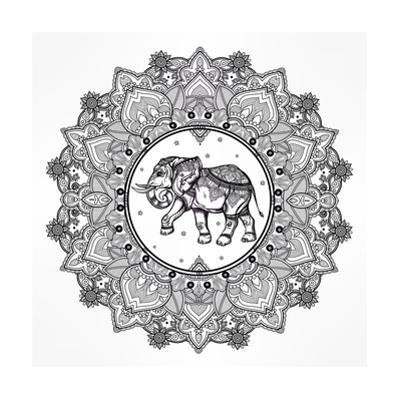 Hand Drawn Ornate Paisley Mandala with Elephant Inside. Ideal Ethnic Background, Tattoo Art, Yoga, by Katja Gerasimova