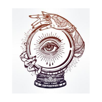 Hand Drawn Romantic Flesh Art of a Crystal Ball in Psychics Hands with Eye in It. Vector Illustrati by Katja Gerasimova
