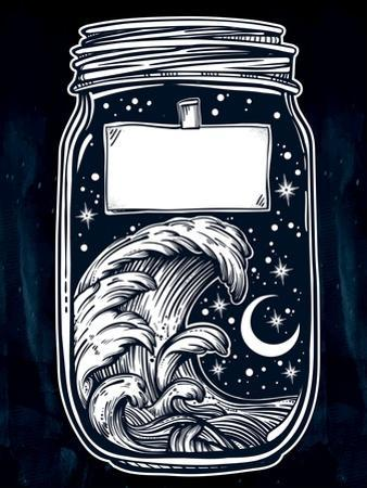 Hand Drawn Romantic Wish Jar with Night Sky and Water Waves in the Sea or Ocean . Vector Illustrati by Katja Gerasimova