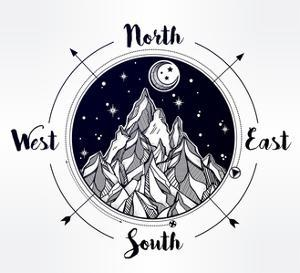 Mountain Wind Rose Vector Illustration. by Katja Gerasimova