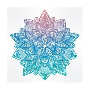Paisley Floral Lotus Mandala Illustration. by Katja Gerasimova