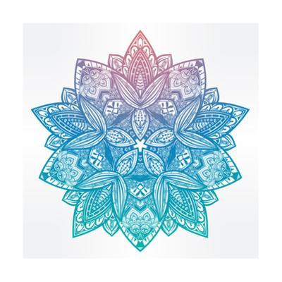 Paisley Floral Lotus Mandala Illustration. by Katja Gerasimova