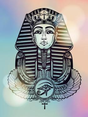 Vintage Tattoo Vector Pharaoh with Winged Ankh. by Katja Gerasimova