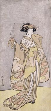 A Full-Length Portrait of the Actor Ichikawa Monnosuke II in a Female Role Holding an Incense Burne by Katsukawa Shunsho