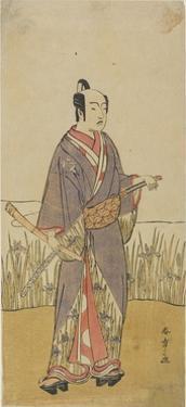 (An Actor in a Samurai Role Holding a Bamboo Flute) by Katsukawa Shunsho
