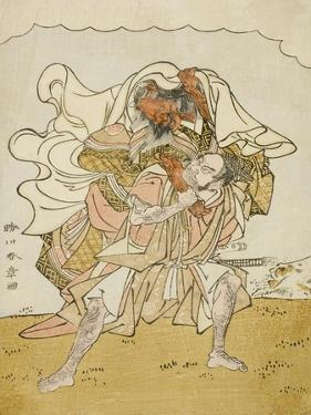 The Warrior Omori Hikoshichi Carrying a Female Demon on His Back, C.1772 by Katsukawa Shunsho