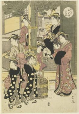 Three Coutesans of the Ogiya House and their Attendants by Katsukawa Shunsho