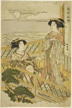 Two Courtesans on a Moonlit Balcony at a House of Pleasure in Shinagawa, C.1774 by Katsukawa Shunsho