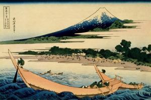 36 Views of Mount Fuji, no. 28: Shore of Tago Bay, Ejiri at Tokaido by Katsushika Hokusai