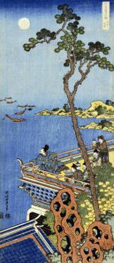 A Courtier on the Balcony of a Chinese Pavilion Looking in the Distance on a Moonlit Night by Katsushika Hokusai
