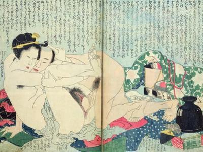 A 'Shunga' (Erotic Print), from 'Manpoku Wago-Jin': Lovers and a Wine Jar, 1821 by Katsushika Hokusai