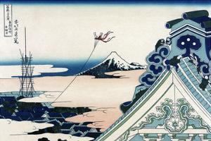 Asakusa Honganji Temple in the Eastern Capital, Edo by Katsushika Hokusai