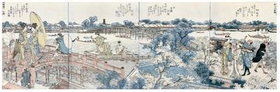 Bookplates of Landscape Scenes from the Ehon Sumidagawa Ryogan Ichiran by Katsushika Hokusai