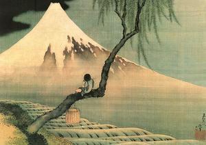 Boy on the Tree by Katsushika Hokusai