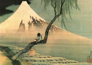 Boy on the Tree by Katsushika Hokusai