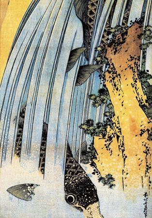 Katsushika Hokusai Carps Ascending Waterfall Art Poster Print