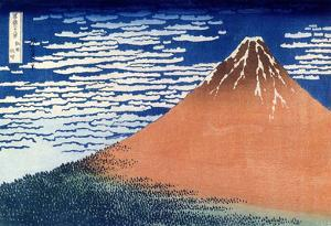 Katsushika Hokusai (Clear Weather Mount Fuji) Art Poster Print