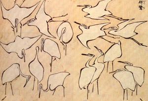Katsushika Hokusai Cranes Art Poster Print